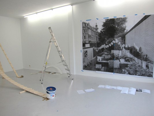 Saskia Janssen, artist, installing her show at Ellen de Bruijne Projects