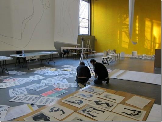 Saskia Janssen and Uta Eisenreich, workshop on Rietvelds oral history, for graphic design department Gerrit Rietveld Academy, 2014