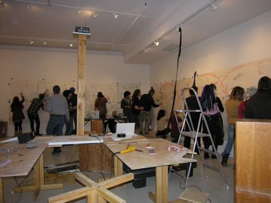 A workshop by Saskia Janssen and Jonas Ohlsson at the Monserrat College of Art, Beverly, 2009