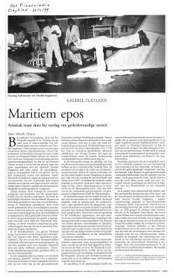 Article in Het Financiele Dagblad about artist Saskia Janssen, Artist George Korsmit and artist Owen Oppenheimer