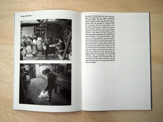 booklet by artist  Saskia Janssen and artist George Korsmit, made during their stay with shamans in Seoul, 2014