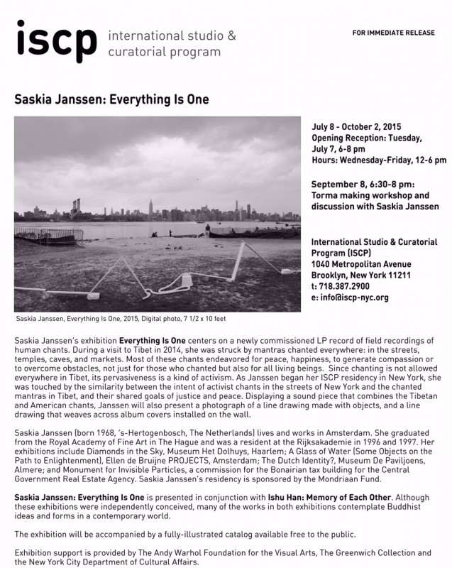 Ehibition of Saskia Janssen at the ISCP gallery in New York in 2015